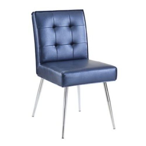 Ave Six Amity Tufted Dining Chair with Chrome Finish Metal Legs & Sizzle Azure Faux Leather Fabric (AMTD-S54)