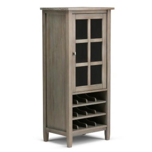 Simpli Home Warm Shaker Wine Rack Storage Cabinet