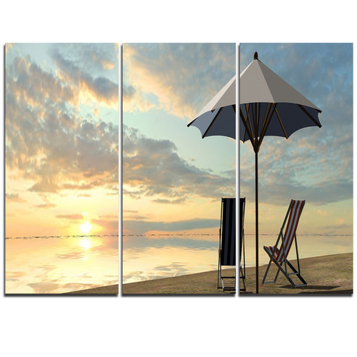 Deck Chairs and Umbrella on Beach - Modern Seascape Metal Wall At - 36Wx28H - Grey/Yellow