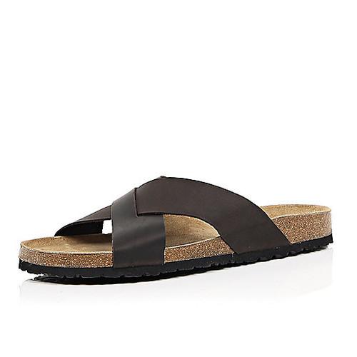 Dark brown leather cross strap sandals