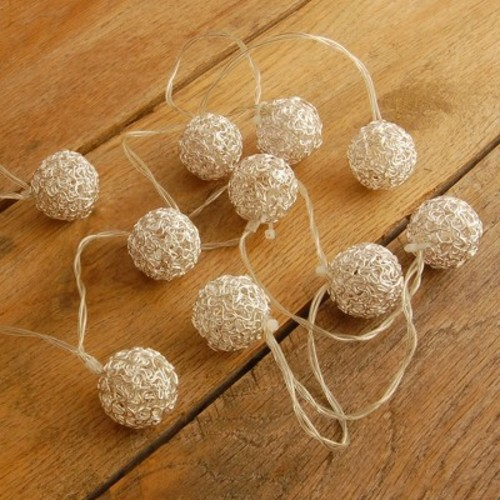 20Ct Solar Powered Wire Silver Ball LED String Lights