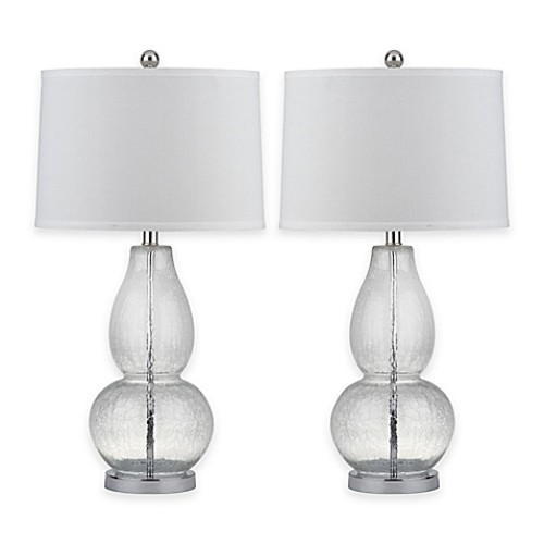 Safavieh Mercurio 1-Light Double Gourd Table Lamp in Vintage Crackle with Cotton Shade (Set of 2)