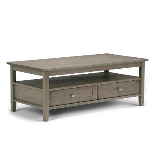 Warm Shaker Coffee Table - Distressed Gray Finish - Simpli Home
