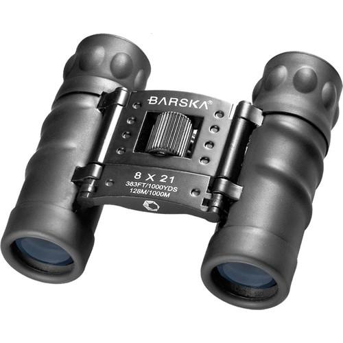Barska Style 8x21 Black Compact Blue Lens Binoculars