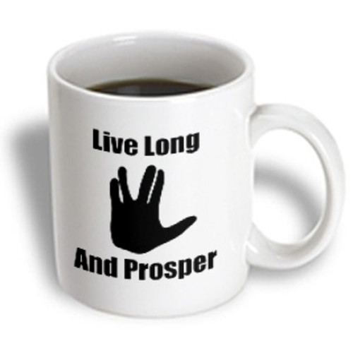3dRose - EvaDane - Movie Quotes - Live long and prosper. Star Trek. Starship Enterprise. Spock. - 15 oz mug