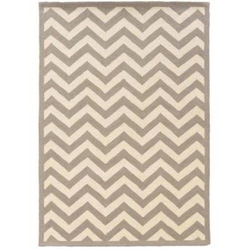 Linon Home Decor Silhouette Chevron Grey and White 8 ft. x 10 ft. Indoor Area Rug