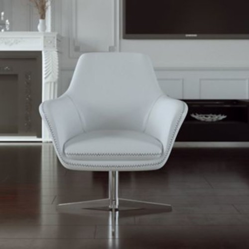 UrbanMod Mid Century Swivel Leather Lounge Chair; Gray
