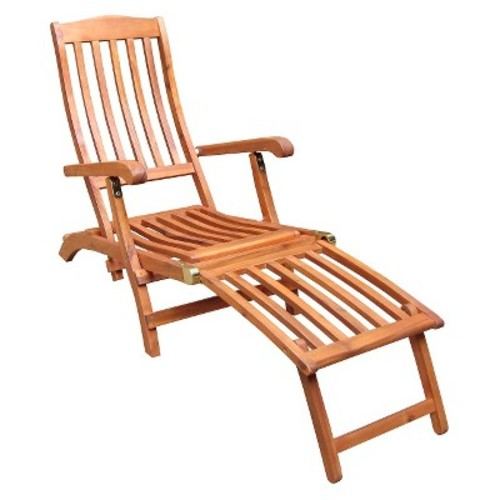 International Concepts Outdoor Slatback Folding Chaise Lounge Chair