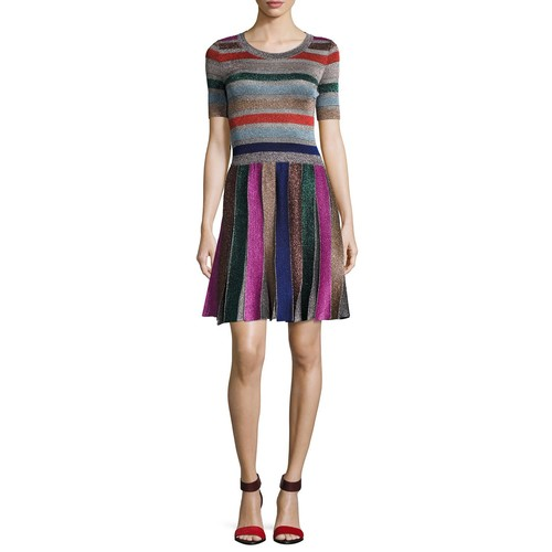 MISSONI Short-Sleeve Metallic Stripe Dress, Multi