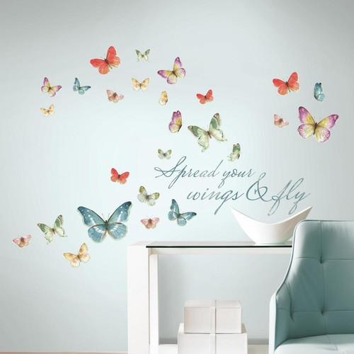 RoomMates 5 in. x 11.5 in. Lisa Audit Butterfly Quote 28-piece Peel and Stick Wall Decals