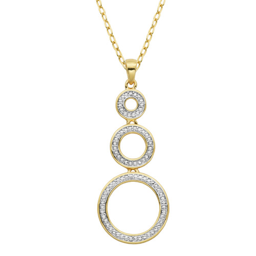 Triple Circle Diamond Accent Pendant