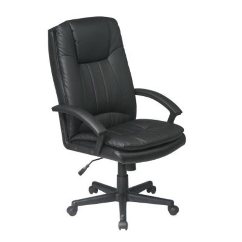 Work Smart Black Eco Leather Executive Office Chair