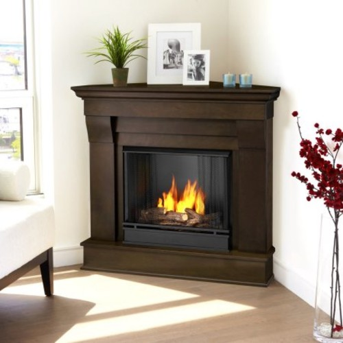Real Flame Chateau 41 in. Corner Ventless Gel Fuel Fireplace in Dark Walnut