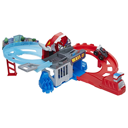 Transformers Playskool Heroes Rescue Bots Flip Racers Chomp and Chase Raceway