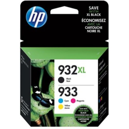 HP 932XL/933 High Yield Black and Standard C/M/Y Color Ink Cartridges (N9H62FN#140), Combo 4/Pack