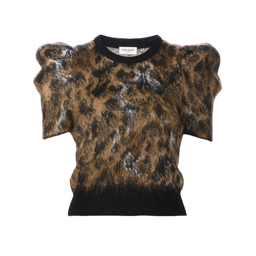 SAINT LAURENT Puff Sleeve Knit Top