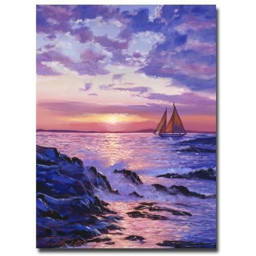 Trademark Global David Lloyd Glover 'Sail at Dawn' Canvas Art [Overall Dimensions : 18x24]