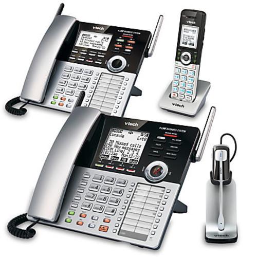 VTech CM18445 4-Line Small Business Office Phone System Bundle with 2 Desksets, 1 Handset and 1 Headset