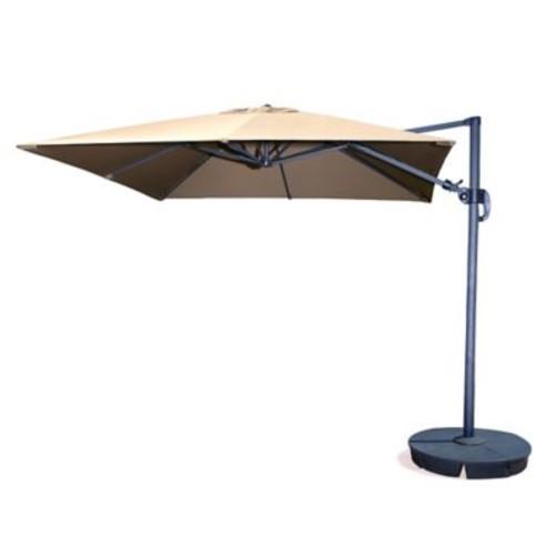 Blue Wave Santorini II Fiesta 10' Square Cantilever Umbrella With Tilt, Beige Sunbrella Acrylic