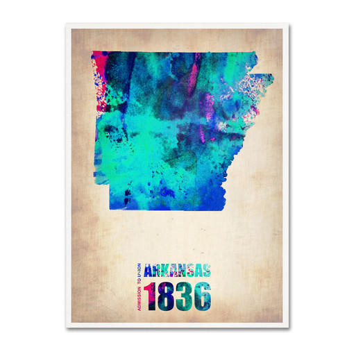 Trademark Global Naxart 'Arkansas Watercolor Map' Canvas Art [Overall Dimensions : 35x47]