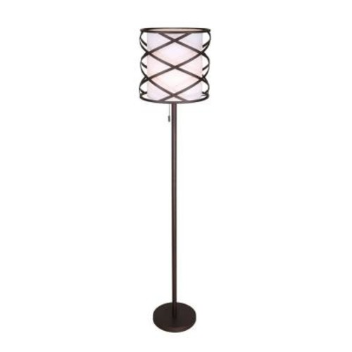 CANARM Carlina 62.5 in. Oil-Rubbed Bronze Floor Lamp with White Fabric Shade