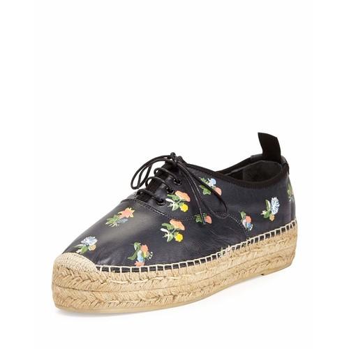 SAINT LAURENT Grunge Floral-Print Espadrille Sneaker, Black/Multi
