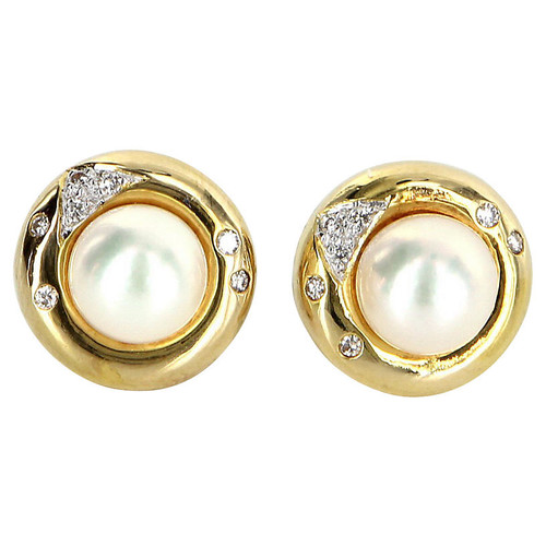 Cultured Pearl Diamond Stud Earrings