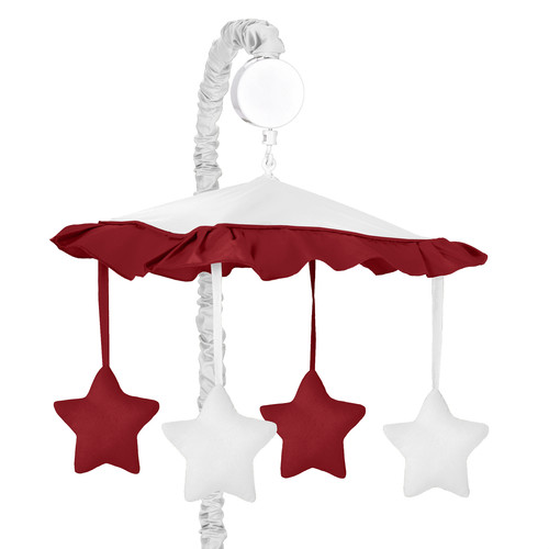 Sweet Jojo Designs White and Red Hotel Collection Musical Mobile
