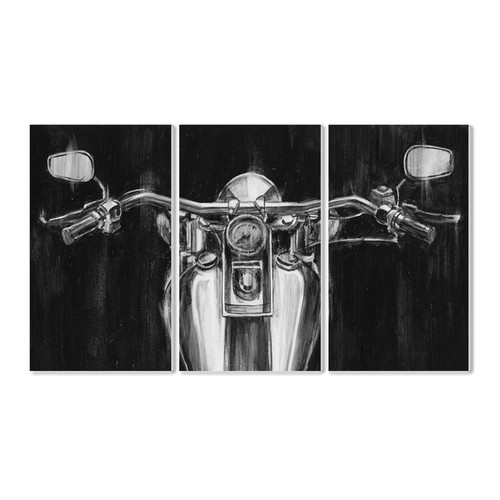 Stupell Black/White Classic Motorcycle Triptych Wall Plaque Art Set