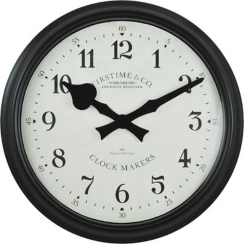 FirsTime Avalon Whisper Round Wall Clock in Black