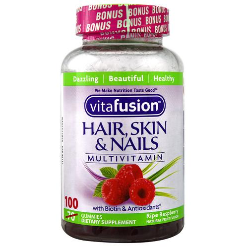 Vitafusion Hair Skin & Nails Multivitamin Natural Raspberry -- 100 Gummies