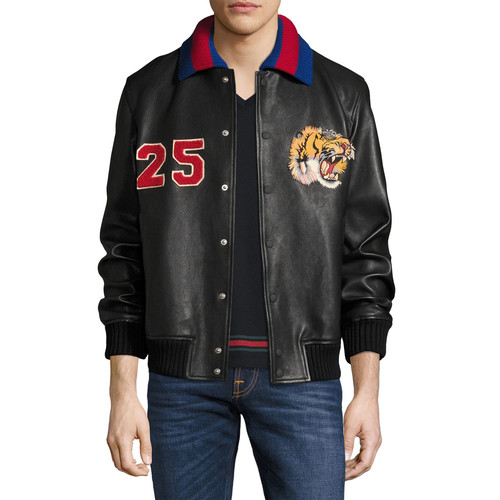 GUCCI Leather Bomber Jacket W/Embroideries, Black