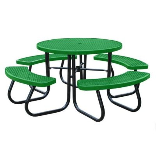 Paris 46 in. Light Green Picnic Table with Built-In Umbrella Support