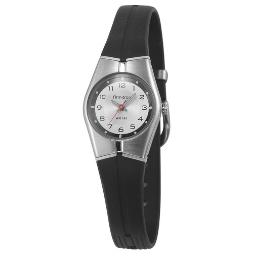 Armitron Ladies Black Analog Watch with Steel Bezel and Black Resin Band