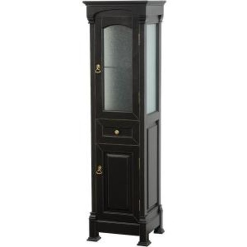 Wyndham Collection Andover 18 in. W x 16 in. D x 65 in. H Bathroom Linen Storage Tower Cabinet in Antique Black