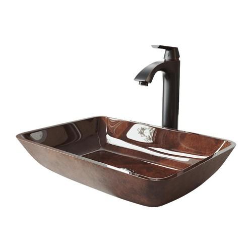 VIGO 18 Rectangular Russet Glass Vessel Bathroom Sink Set With Linus Vessel Faucet In Antique Rubbed Bronze