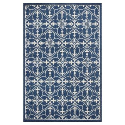 Kas Rugs Palmetto Blue 7 ft. 7 in. x 10 ft. 10 in. All-Weather Area Rug
