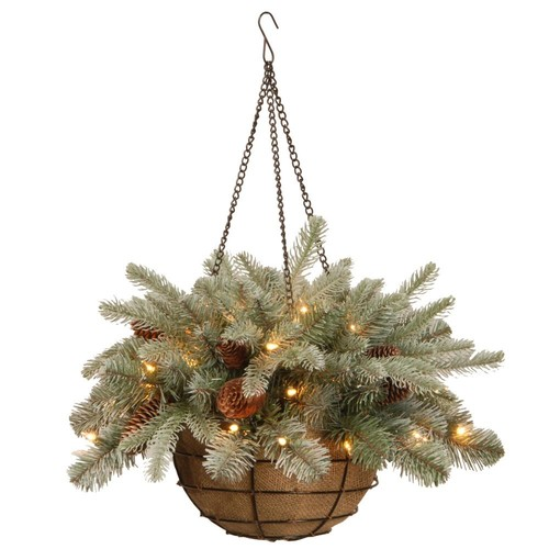 National Tree Company 20 in. Frosted Arctic Spruce Hanging Basket with Battery Operated Warm White LED Lights