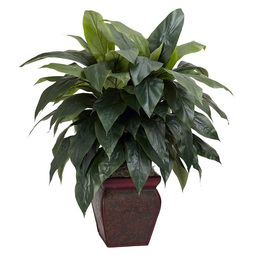 Nearly Natural 35 in. H Green Cordyline with Decorative Vase Silk Plant