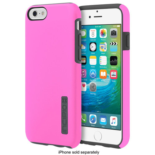 Incipio - DualPro Case for Apple iPhone 6 and iPhone 6s - Highlighter Pink/Charcoal