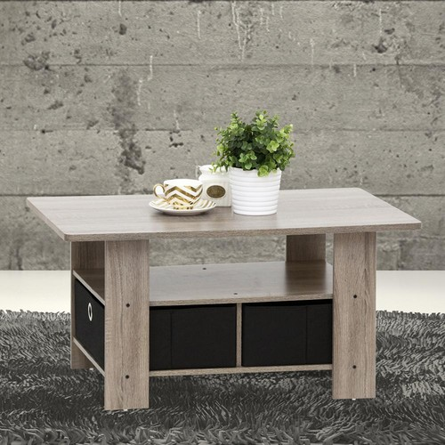 Furinno Home Living French Oak Grey and Black Built-In Storage Coffee Table