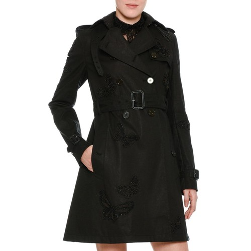VALENTINO Butterfly-Embroidered Trenchcoat, Black