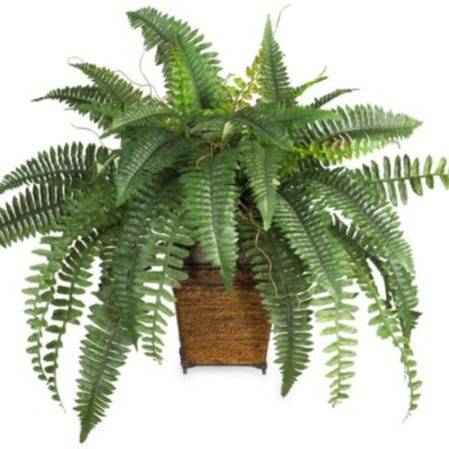 Nearly Natural 6549 Boston Fern Silk Plant with Wood Wicker Basket