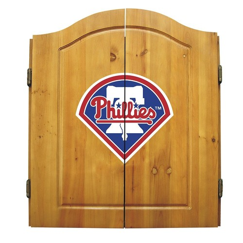MLB Philadelphia Phillies Dartboard Cabinet with Darts Set
