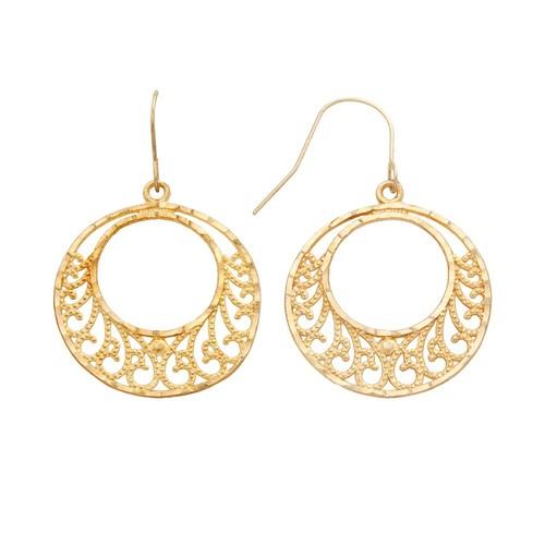 10k Gold Filigree Hoop Drop Earrings