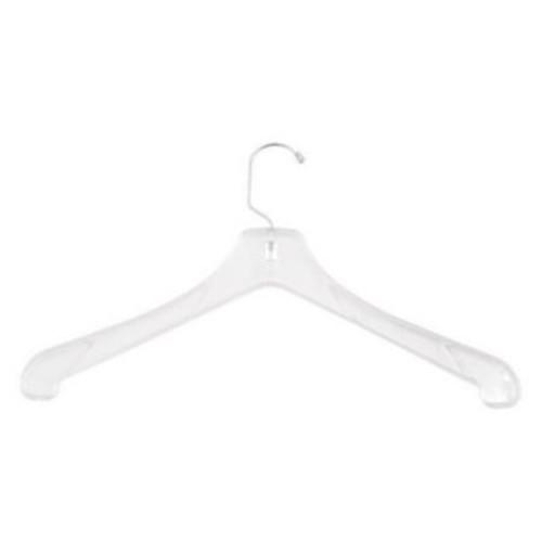Plastic Heavy Weight Coat Hanger, Short Hook, Clear