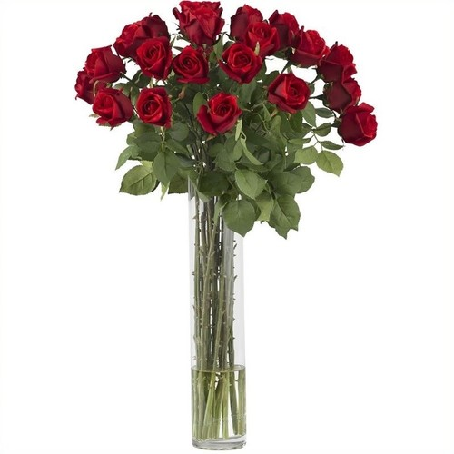Nearly Natural Rosebud with Cylinder Silk Flower Arrangement in Red