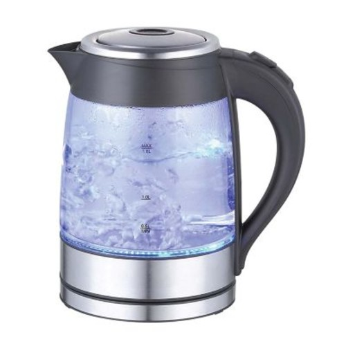 Mega Chef Glass/Stainless Steel Electric Tea Kettle, 1.8 ltr, Black/Silver (97096270M)