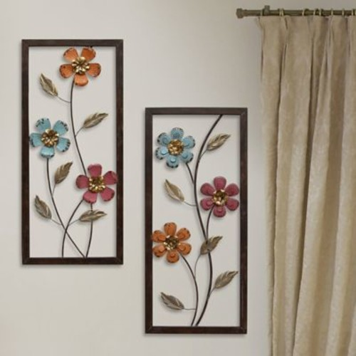 Stratton Home Decor 2 Piece Floral Panel Wall D cor Set
