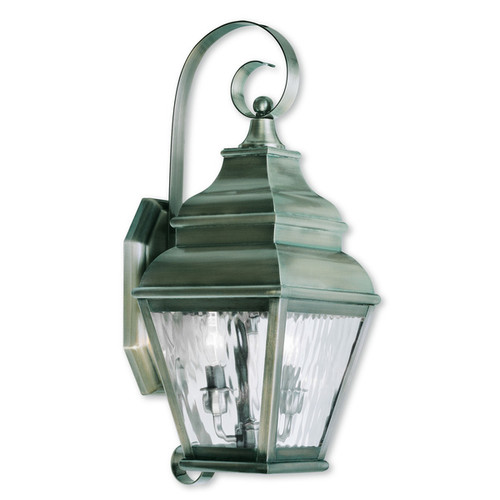Livex Lighting Exeter Vintage Pewter Brass Two-light Outdoor Wall Lantern